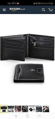 Wallets Mens RFID Blocking Genuine Leather with Zipped Coin Pocket, 12 Credit...