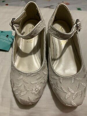 Monsoon Childrens Flower Girl Party Shoes White Sparkles Size 9