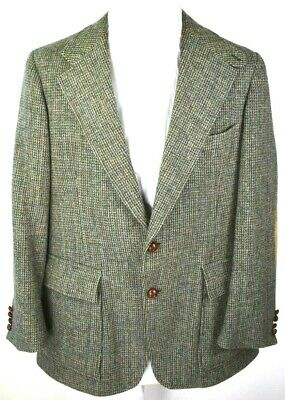 Polo by Ralph Lauren Mens Sport Coat Jacket 44R Gray Wool Plaid Elbow Patches