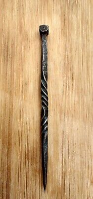 Hand-Forged Wrought Iron Square / Nail / Awl Tool Twisted Hand-Turned Antique