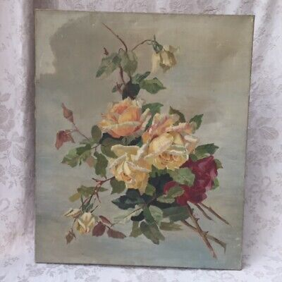 Fab 1913 Antique Vtg French CREAM YELLOW PINK ROSES Oil PAINTING / CANVAS Signed