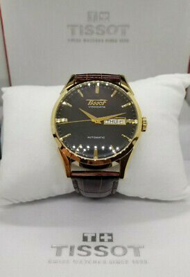 TISSOT Visodate Gold Tone Brown Leather Automatic Men's Watch