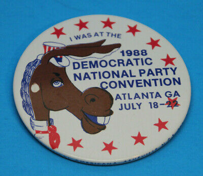 I Was At The National Democratic Convention 1988 Political Pin Button Atlanta