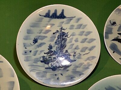 Antique (4) Porcelain Chinese Export Blue Underglaze Painted Wax Seal Plate Lot