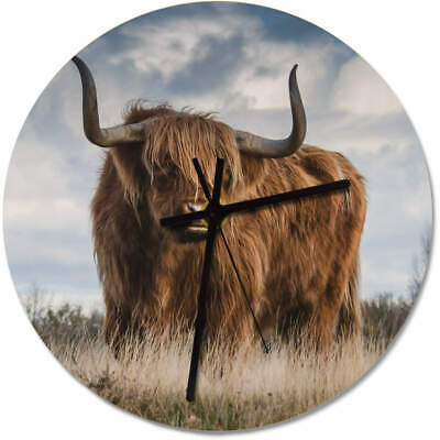 275mm 'Highland Cow' Large Wooden Clock (CK00011504)