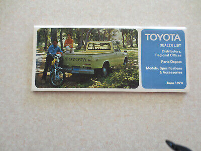 1970 Toyota car range specifications, accessories & dealer list booklet - USA