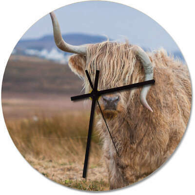 275mm 'Wonky Horned Highland Cow' Large Wooden Clock (CK00014742)