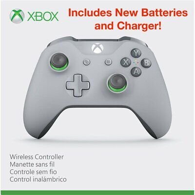 Microsoft WL3-00060 Xbox One Wireless Controller, Grey/Green + 2500mAh Batteries