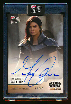 2019 TOPPS NOW STAR WARS GINA CARANO as CARA DUNE AUTO MANDALORIAN RARE SP 28/49