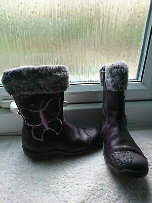 Clarks Plum Leather Infant Girls Boots Butterfly&Faux Fur Trim Size 7F