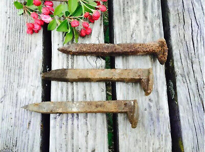 12 Railroad Spikes, Vintage Train Track Plate Nails, Steampunk Art Craft Supply