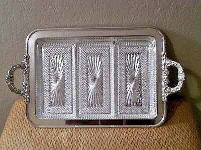 Exceptional Vtg 70'S Leonard Silverplated Serving/Relish Tray W/3 Glass Inserts