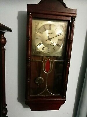 (1227) Brown Wooden Long Case Wall Clock Made By William Dale (Uk)Quartz Battery