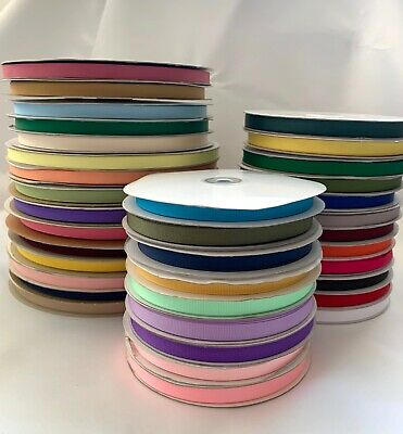 "3/8"" Grosgrain Ribbon Polyester Solid Assorted Colors Spool 50 100 yds"