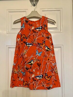 Next Girls Red Dress With Bird Print Age 5 Years
