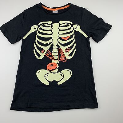 Girls,Boys size 7, Target, black cotton t-shirt / top, skeleton, GUC