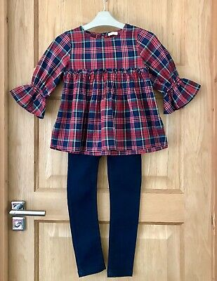 NEXT *5y GIRLS RED TARTAN OUTFIT TOP SLIM FIT JEANS AGE 5 YEARS