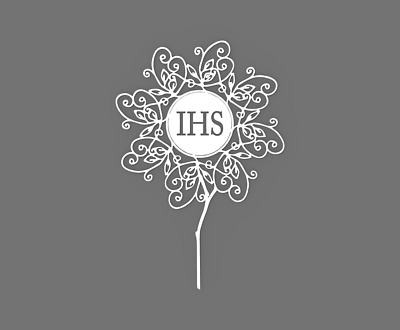 """First Holy Communion Cake Topper 60704 """" IHS """" ( rosette )"""