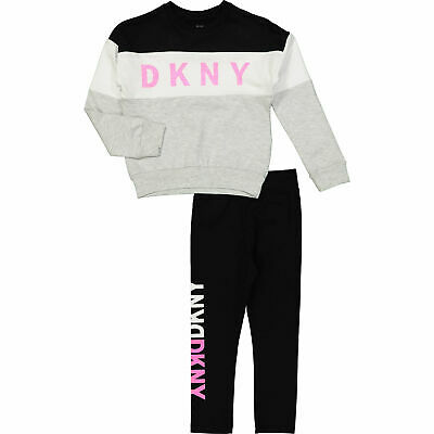 DKNY Girls Aged 6 Designer Tracksuit Two Piece Set Black Grey and Metallic Pink