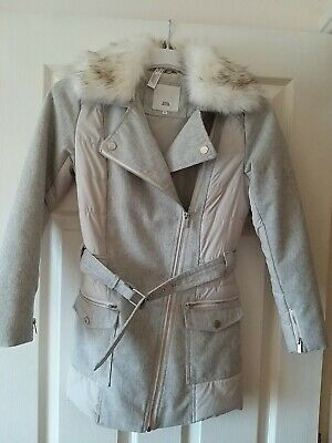 RIVER ISLAND *11-12y GIRLS COAT JACKET FAUX FUR COLLAR AGE 11-12 YEARS