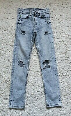 Next Boys Distressed Pale Denim Ripped Skinny Leg Jeans Age 10-11 Years
