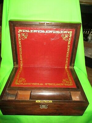 Antique Large Wooden Writing Slope Box With Brass Fittings