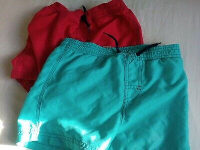 Two pairs of Boys swimming shorts trunks red blu age 5 years