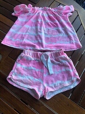 Zara Girls Pink Tye Die Shorts & Top SUMMER Outfit Age 4 ❤️