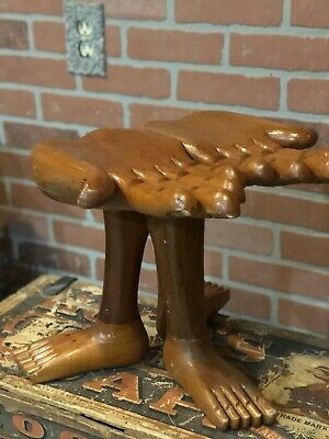 Vintage Folk Art Hand Carved Hand Foot Side Table.