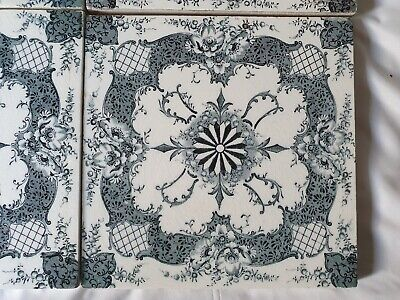 Stunning Antique 19Th Century Symmetrical Design 6 Inch Tile. 6 Available