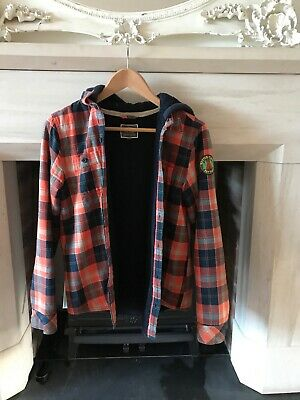 Fat Face Boys hooded fleece lined check shirt.  Age 12 - 13 years