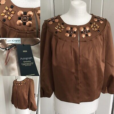 Autograph Bronze Rose Gold Satin Embellished Occasion Jacket BNWT Sz 14 Cocktail