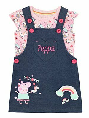 Peppa Pig Girls Unicorn Pinafore Dress and T-Shirt Multicoloured Age 2 to 3 Year