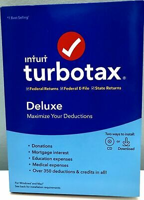 Turbotax Deluxe 2019 Federal & State & Federal E-File , New In Box