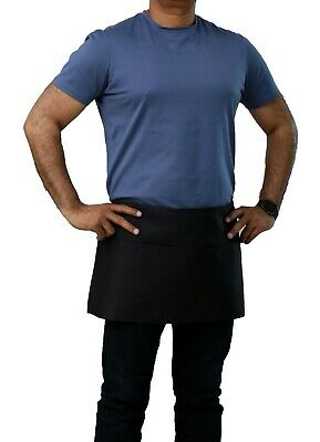 Server Apron  New Heavy Duty Black Poly-Cotton Bar Style Waist Apron 12 X 24
