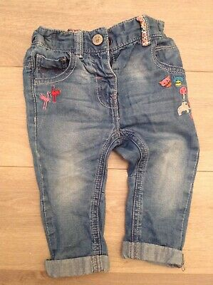 Next baby girls animals jeans trousers 6-9 mths