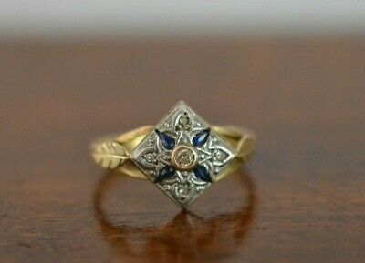 ANTIQUE ART DECO 18k Yellow Gold Sapphire and Diamond Engagement Ring 2.5 Gr
