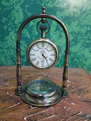 Antique Finish Brass Table Top Nautical Clock~Compass Marine Collectible Gift