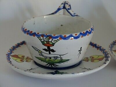 Vintage Two Cups  French Faience Alcide Chaumeil 19 Th Century
