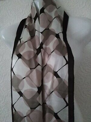 Jasper Conran Long Length Scarf beige brown cream 62 inches long 10 inches wide