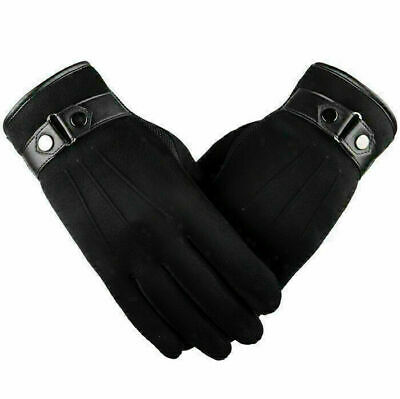 Men's Touch Screen Leather Gloves Thermal Fleece Lined Driving Winter Warm Black