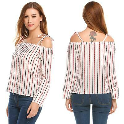 Women Casual Lace Up Slash Neck Long Sleeve Off the Shoulder Loose Sexy GDY7