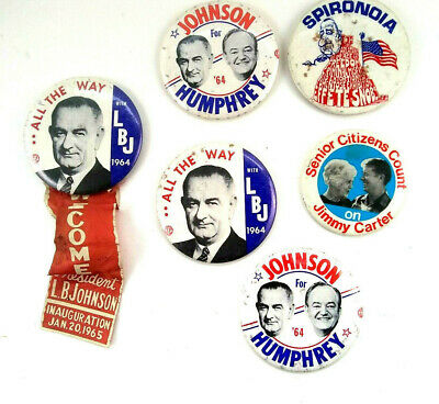 "Vintage 1960's Political Buttons Johnson Agnew Humphrey Carter 3.5"" Lot Of 6"