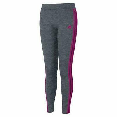 Adidas Girls' Youth Performance Tight Legging M (10/12) - Gray/Black/Pink