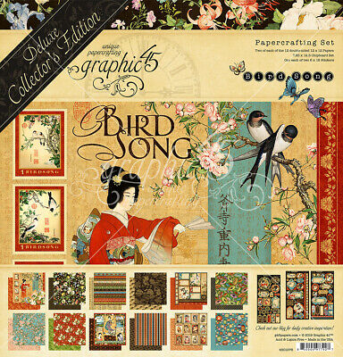 """NEW  Graphic 45 12"""" x 12"""" Deluxe Collectors Edition Bird Song"""