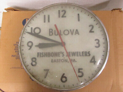 Vtg 1955 Bulova Advertising Wall Clock Fishbone's Jewelers Easton Pa AS IS READ