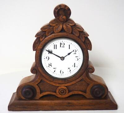 Antique Carved Oak Mantel Clock English Mantle Clock Platform Escapement