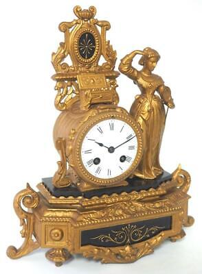 Antique French 8 Day Bell Striking Gilt Metal & Black Slate Marble Mantel Clock