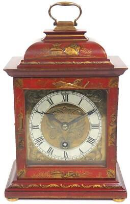 Antique Chinoiserie Mantel Clock English Caddy Top Red Lacquer Bracket Clock