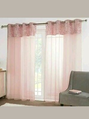 """New Sienna Blush Pink Crushed Velvet Band Voile Curtains 55""""×87""""140Cm×220Cm"""